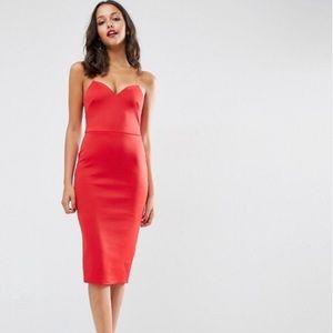 ASOS Deep Plunge Scuba Strappy Midi Dress